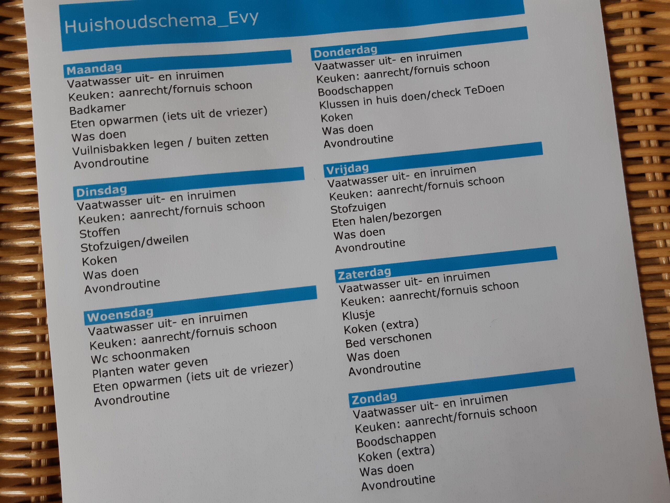Huishoudschema voorbeeld